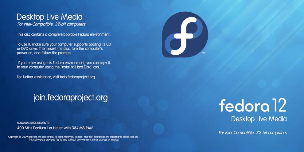 Jaquette de Fedora 12
